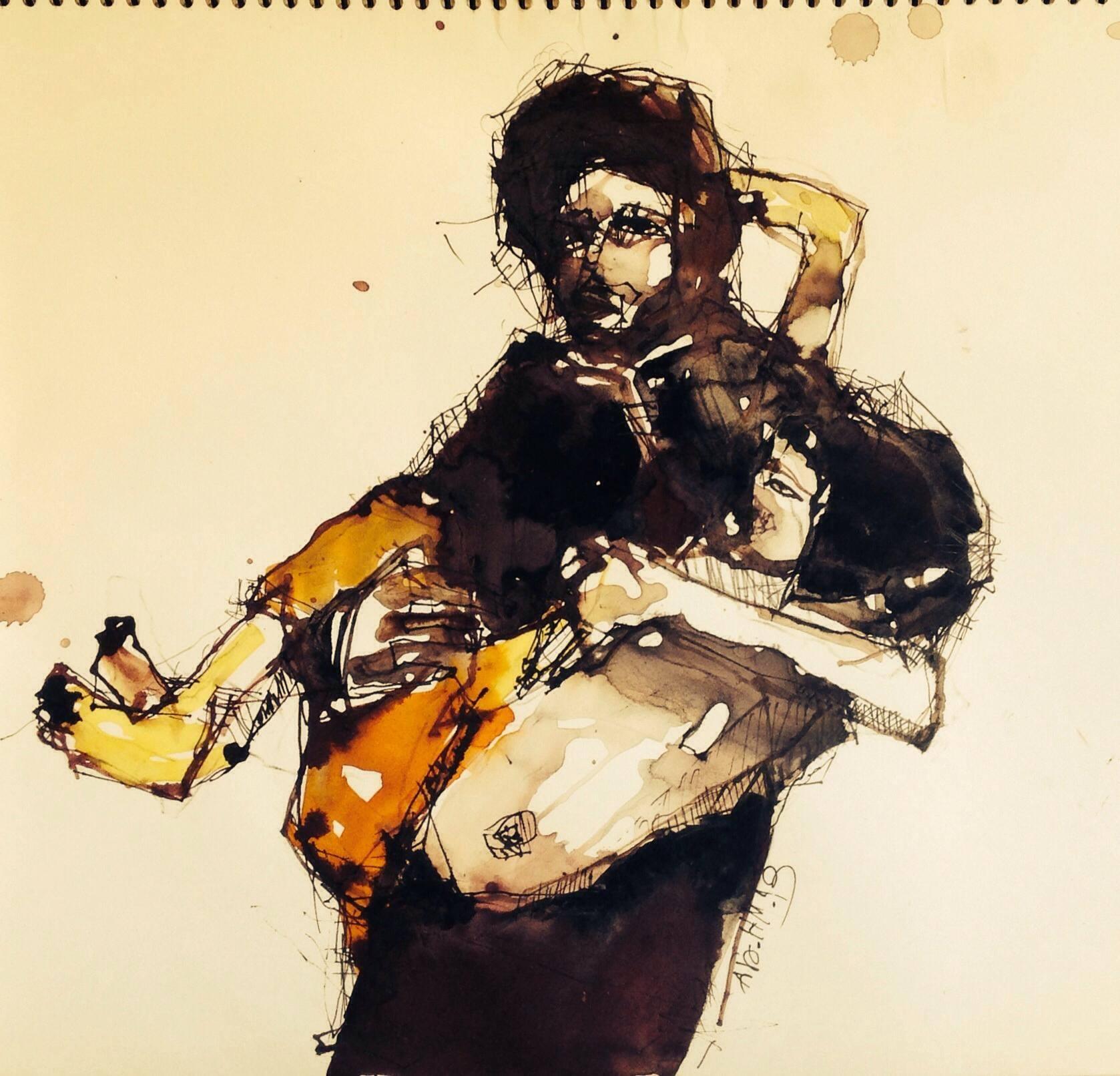 """علاء حمامة. حبر على ورق , من مجموعة """"مشاهد سورية"""" 2013"""